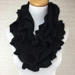 Cute warm black knit infinity scarf